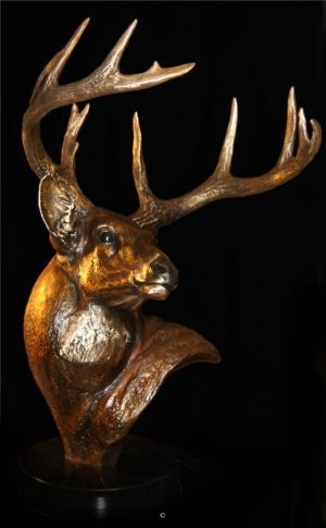"A Parting Glance- Whitetail20""H x 10""L x 13""W - Edition of 48 - $2600 A Parting Glance - Whitetail north american animals big game wildlife sculptures bronze statues"