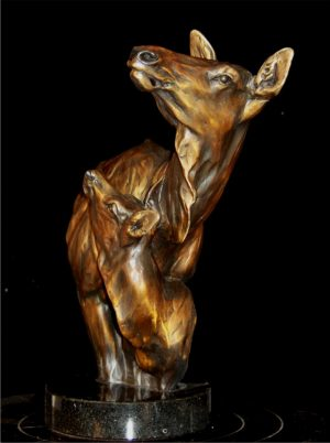"A Solid Foundation -RMEF Foundation Founders Award - Elk Cow/Calf12""H x 5""L x 9""W - Edition of 100 - $1800 A Solid Foundation -RMEF Foundation Founders Award - Elk Cow/Calf north american animals big game wildlife sculptures bronze statues"