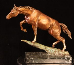 """An Uphill Battle - SSt Reckless Maquette- Bare (no tack/munitions) 11""""H x 4""""W x 12""""L - Edition of 100 - $2200 An Uphill Battle - SSt Reckless Maquette- Bare (no tack/munitions) north american animals big game wildlife sculptures bronze statues"""
