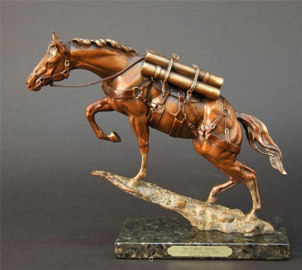 "An Uphill Battle - SSt Reckless Maquette- Loaded (with tack/munitions) 11""H x 4""W x 12""L - Edition of 100 - $3000 An Uphill Battle - SSt Reckless Maquette- Loaded (with tack/munitions) north american animals big game wildlife sculptures bronze statues"