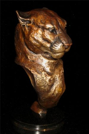 "Attitude - Cougar12""H x 7""L x 5""W - Edition of 48 - $2200 Attitude - Cougar north american animals big game wildlife sculptures bronze statues"