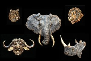 Big Five Relief Set -See individual sizes for each relief - Open Edition Big Five Relief Set Bas Relief African Big Five