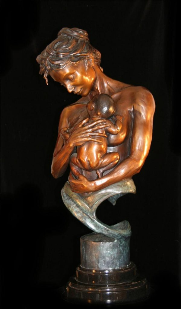 "Bond for Life -Mother and Child (traditional patina)26""H x 9""L x 11""W - Edition of 48 - $5400 Bond for Life - Mother and Child (traditional patina) Funny Bronze Sculptures Whimsical Art"
