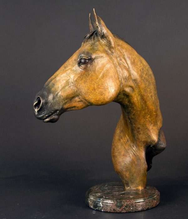 "Cowgirl Cadillac - Horse Bust (Buckskin)18.5""H x 16""L x 7""W - Edition of 24 - $3600 Cowgirl Cadillac - Horse Bust (Buckskin) north american animals big game wildlife sculptures bronze statues"