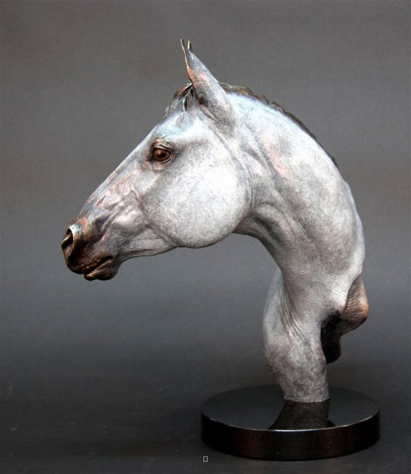 "Cowgirl Cadillac - Horse Bust (Grey)18.5""H x 16""L x 7""W - Edition of 24 - $3600 Cowgirl Cadillac - Horse Bust (Grey) north american animals big game wildlife sculptures bronze statues"