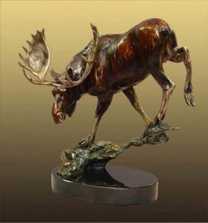 "Downhill Slide - Moose12""H x 12""L x 7""W - Edition of 48 - $2200 Downhill Slide - Moose north american animals big game wildlife sculptures bronze statues"