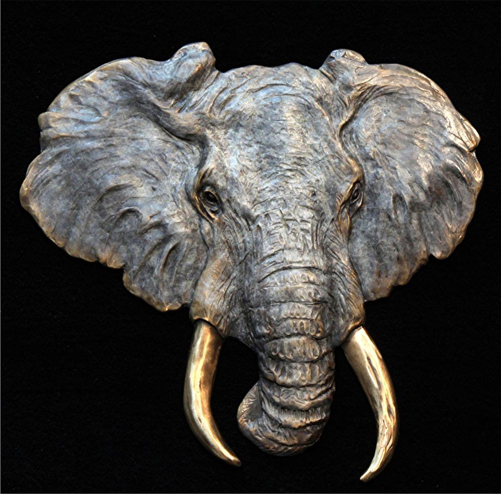 "Elephant Relief -11""H x 12""W - Open Edition Elephant Relief Bas Relief African Big Five"