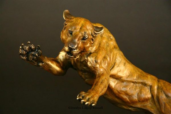 """Front Line"" -Lioness, Survival Series 12""H x 17""W x 7""L - Edition 48 - $2100 Front Line -Lioness - Survival Series African Predators Sculpture African Prey Animals"