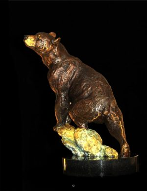 "Good Scents - Black Bear11""H X 9""L X 6""W - Edition of 48 - $1950 Good Scents - Black Bear north american animals big game wildlife sculptures bronze statues"