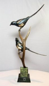 "Holy Matrimony- Magpie Pair 12""H x 16""L x 9""W - Edition of 32 - $2950 Holy Matrimony- Magpie Pair north american animals big game wildlife sculptures bronze statues"