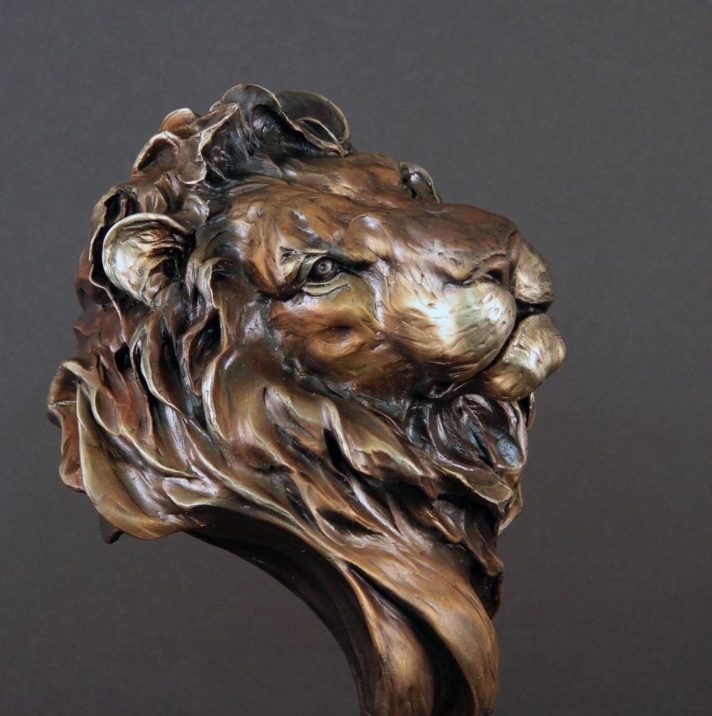 """Imminence"" African Lion 14""H x 8""L x 8""W - Edition of 48 - $2200 Imminence African Lion African bronze sculpture African wildlife art sculptures"
