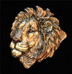 "Lion Relief -8""H x 7""W - Open Edition Lion Relief Bas Relief African Big Five"