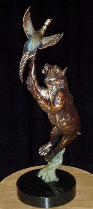 "Long Shot - Bobcat/Pheasant Maquette (Also available monument size)20""H x 6""L x 8""W - Edition of 48 - $2800 Long Shot - Bobcat/Pheasant Maquette north american animals big game wildlife sculptures bronze statues"