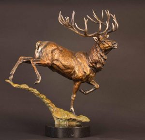Manuka Monarch -Red Stag24H x 23L x 12W - Edition of 24 - $4800 Manuka Monarch - Red Stag north american animals big game wildlife sculptures bronze statues