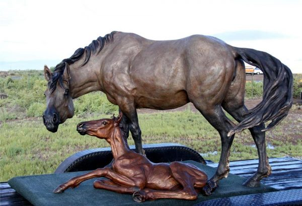 Mustang Tender - Mustang Mare and Foal Mustang Tender - Monument Monuments Life-size sculpture