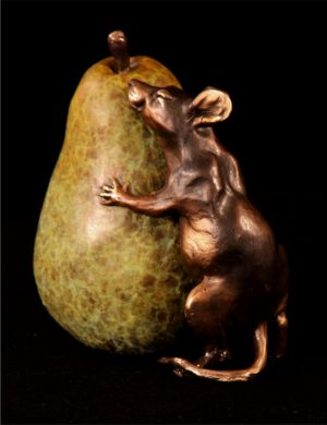 "Pear Hug- Mouse/Pear 4.5""H x 4.5""L x 3""W - Edition of 200 - $480 Pear Hug- Mouse/Pear Funny Bronze Sculptures Whimsical Art"