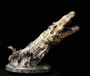"""""""Point Blank"""" - Crocodile, Survival Series11""""H x 13""""W x 8""""L - Edition of 48 - $2100 Point Blank - Crocodile - Survival Series African Predators Sculpture African Prey Animals"""