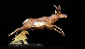 "Prairie Rocket - Pronghorn12""H x 17""L x 4""W - Edition of 48 - $2100 Prairie Rocket - Pronghorn north american animals big game wildlife sculptures bronze statues"
