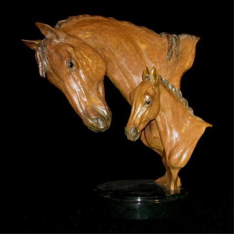 "ProgenyProgeny -Large Interactive Mare/Foal16""H x 15""L x 10""W-Edition of 44 - $5000 Progeny -Large Interactive Mare/Foal north american animals big game wildlife sculptures bronze statues"