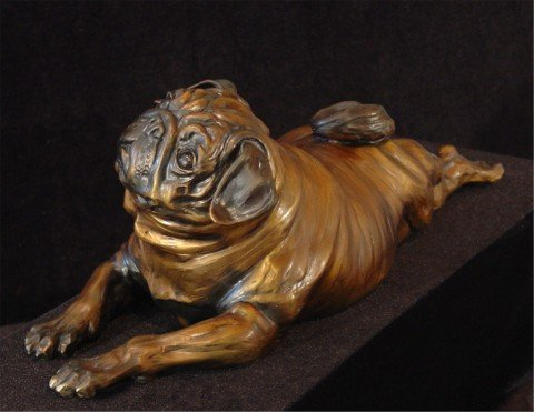 """Pugly- life size pug7""""H x 25""""L X 7""""W - Edition of 24 - $2600 Pugly- life size north american animals big game wildlife sculptures bronze statues"""