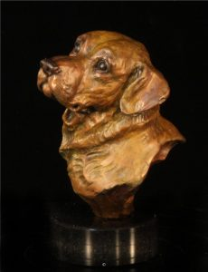 "Ready Retriever Miniature4""H x 3""L x 3""L - Edition of 48 - $380 Ready Retriever Miniature north american animals big game wildlife sculptures bronze statues"