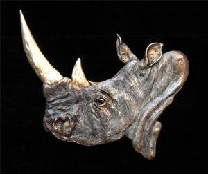 "Rhino Relief -13""H x 11""W - Open Edition Rhino Relief Bas Relief African Big Five"