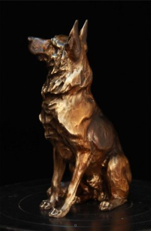 "Service Sentinel - German Shepherd Maquette (also available life size)9.5""H x 4""W x 6""L - Edition of 48 - $1100 Service Sentinel - German Shepherd Maquette north american animals big game wildlife sculptures bronze statues"