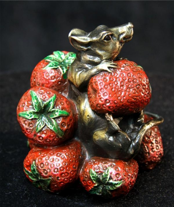 "Strawberry Hill - Mouse/Strawberries4""H x 4""W x 4""L - Edition of 200 - $480 Strawberry Hill - Mouse/Strawberries Funny Bronze Sculptures Whimsical Art"