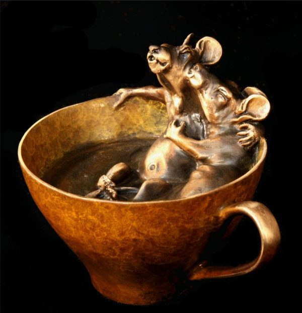 Tea for Two - Mice in teacup4H x 4L x 4W - Edition of 200 - $480 Tea for Two- Mice in teacup Funny Bronze Sculptures Whimsical Art