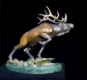 "The Inside Track - Elk22 ""H x 25"" L x 10"" W - Edition of 32 - $4200 The Inside Track - Elk north american animals big game wildlife sculptures bronze statues"