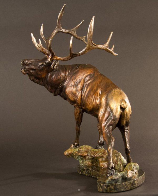 "Trinchera Trophy - Bugling Bull Elk17H x 19""L x 9""W - Edition of 48 - $3200 Trinchera Trophy - Bugling Bull Elk north american animals big game wildlife sculptures bronze statues"
