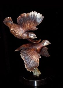 "Volley -Bobwhite Quail16""H x 10""L x 12""W - Edition of 48 - $2400 Volley -Bobwhite Quail north american animals big game wildlife sculptures bronze statues"