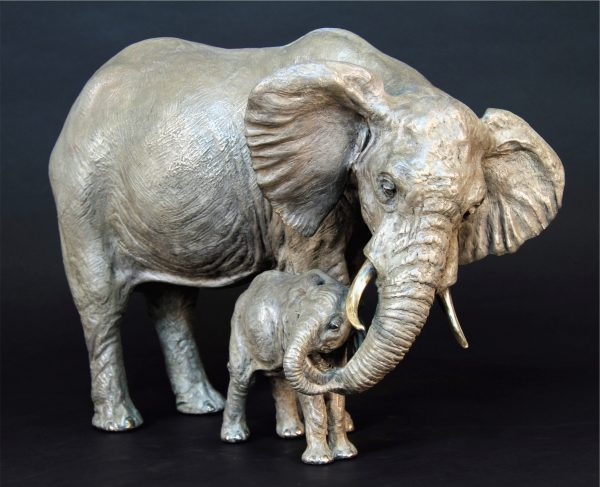 "Tefu -Tender, Audubon Cow Calf Elephant, 17""H x 21""L x 12""W, Edition of 24"