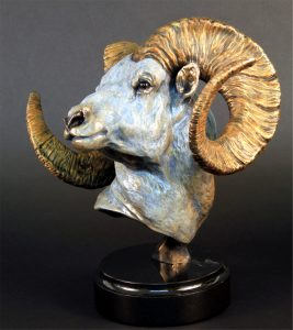 "Cliff Hanger Dall Sheep Bronze - 12""H x 10""L x 12""W - Edition of 48"