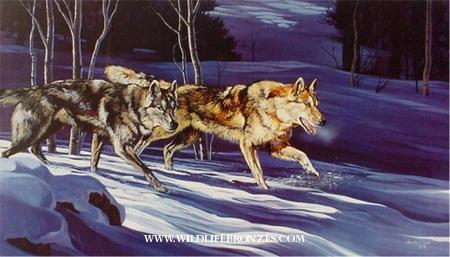 Early Pursuit wolves - Prints Only - Running Wild Studio Original Paintings Limited Edition Reproductions