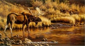 Gaining Ground Moose - Prints Only - Running Wild Studio Original Paintings Limited Edition Reproductions