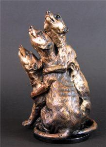 """Pile Up -Meerkats Adult Trio -Life Size <br>12""""H x 8""""L x 8""""W - Edition of 24 - Running Wild Studio Meerkat Bronze Sculpture Life-size Meerkat Statue"""