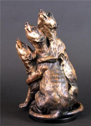 """Pile Up -Meerkats Adult Trio -Life Size 12""""H x 8""""L x 8""""W - Edition of 24 - Running Wild Studio Meerkat Bronze Sculpture Life-size Meerkat Statue"""