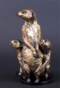 "Safety Zone -Meerkats Mom/Pups -Life Size 12""H x 7""W x 7""L - Edition of 24 - Running Wild Studio Meerkat Bronze Sculpture Life-size Meerkat Statue"