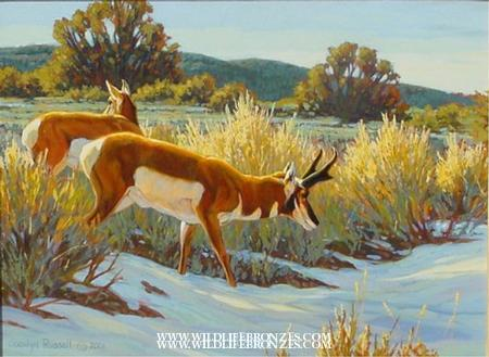 San Antone Duo - Original Sold Pronghorn Pair - Running Wild Studio Original Paintings Limited Edition Reproductions