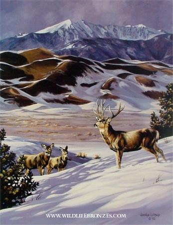 Sand Dunes Delegation Mule Deer - Prints Only - Running Wild Studio Original Paintings Limited Edition Reproductions