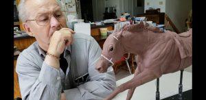 Secretariat Jockey - Ron Turcotte inspecting the initial maquette.