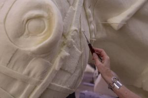 Jocelyn Russell carved details into the bridle of the Secretariat monument.KARL W. SCHMIDT